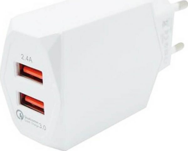 2x USB Wall Adapter Λευκό (CH-85W)