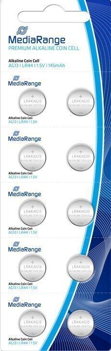 Αλκαλικές Μπαταρίες MediaRange Premium Coin Cells, AG13, 1.5V, LR44, 10 Pack MRBAT113