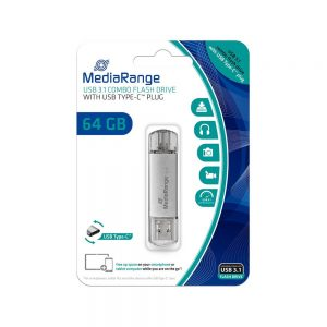 MediaRange USB 3.1 Combo Flash Drive with USB Type-C plug 64GB MR937